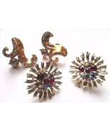 Two Pairs Vintage Lisner Earrings Screw Back Rhinestone Gold Tone Signed - $18.95
