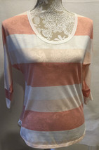 American Eagle Outfitters Casual Coral White Stripe Lightweight Top Blou... - $15.59
