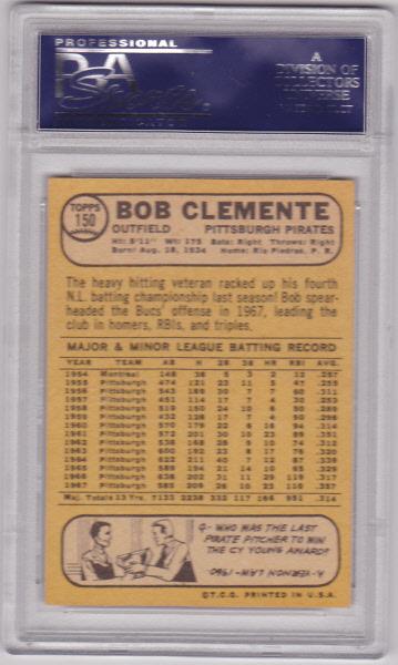 Bob Clemente 1968 Topps #150 Baseball Card PSA 4 VG-EX