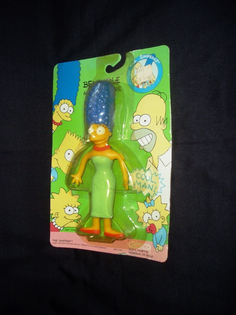1990 Marge Simpson Bendable Action Figure! New In Original Sealed Package!