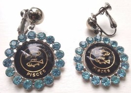 Vintage Pisces Zodiac Rhinestone Earrings Hinged Screw Back 1960's - $12.95