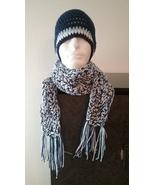 Men's Handmade Crochet Hat  & Scarf Set/Navy Blue  - $50.00