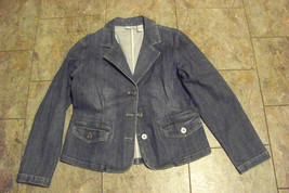 womens chico's platinum fade demium wash denim jeans jacket size 1 - $23.75