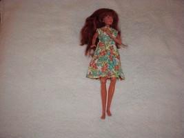 Vintage Handmade Cotton Flower Print Barbie Doll Dress W/Pleated Front & Snaps - $2.99