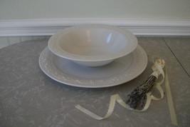 Vintage White Iron Stoneware Homer Laughlin Serving Bowl & Large Plate C... - $42.00
