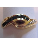 18K Solid Yellow Gold Natural Sapphire Ruby Diamond Ring  - $475.00