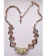 Vintage Sarah Coventry Rhinestone Neclace Gold Tone Green / Yellow Clear... - $18.95