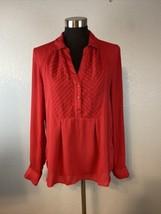 Anthropologie Maeve Women De Stijl Blouse Top 10 Red Chiffon Popover Lon... - $34.64