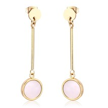 Round Shell Long Drop Dangle Earrings 2020 Gold Stainless Steel Earings ... - $13.16