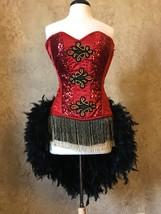 2pc Authentic Corset size 26 Sequin Pin Up Ringmaster Circus Burlesque C... - $229.99