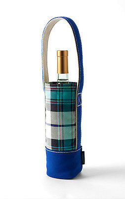 Land's End Denim Single Plaid Bottle, Coffee, Water Bottle or Wine Tote