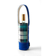 Land's End Denim Single Plaid Bottle, Coffee, Water Bottle or Wine Tote - $14.80