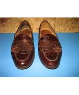 Men's JOHNSTON & MURPHY Brown Croc Print Loafers w/ Kiltie Tassel Detail... - $55.00