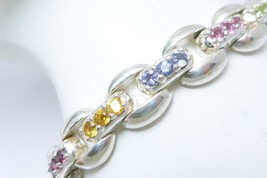 "Sterling Silver Multi-Gemstone Panther Link Bracelet 7.25"" - $105.00"