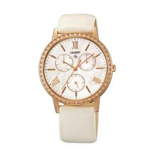 Orient Women's 37mm White Leather Band Steel Case Quartz MOP Dial Analog... - $183.41