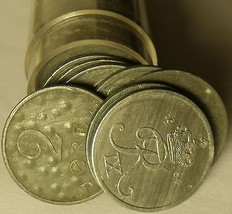 Circulated Roll (50 Coins) Denmark 2 Ore Coins~Zinc~1944-1964~Free Shipping - $22.56
