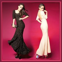 Black or Apricot Backless Chiffon Empire Waist Puff Sleeve Trumpet Mermaid Gown