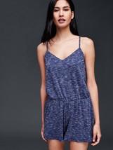 GAP Women Romper L Blue Textured Cami Spacedye Racerback V-neck Jersey Knit New - $29.99