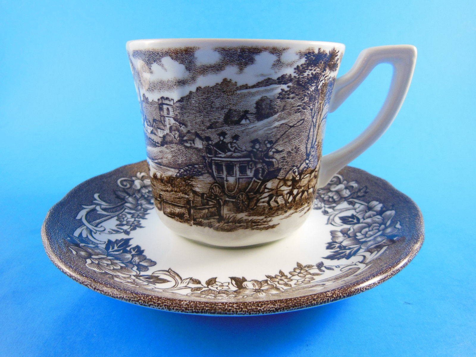 Primary image for Meakin Royal Staffordshire Stratord Stage Coach Ironstone Cup & Saucer brown