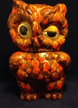 Vintage Owl Cookie Jar Orange Brown Glazed Ceramic MCM Signed Vibrant Co... - $65.00