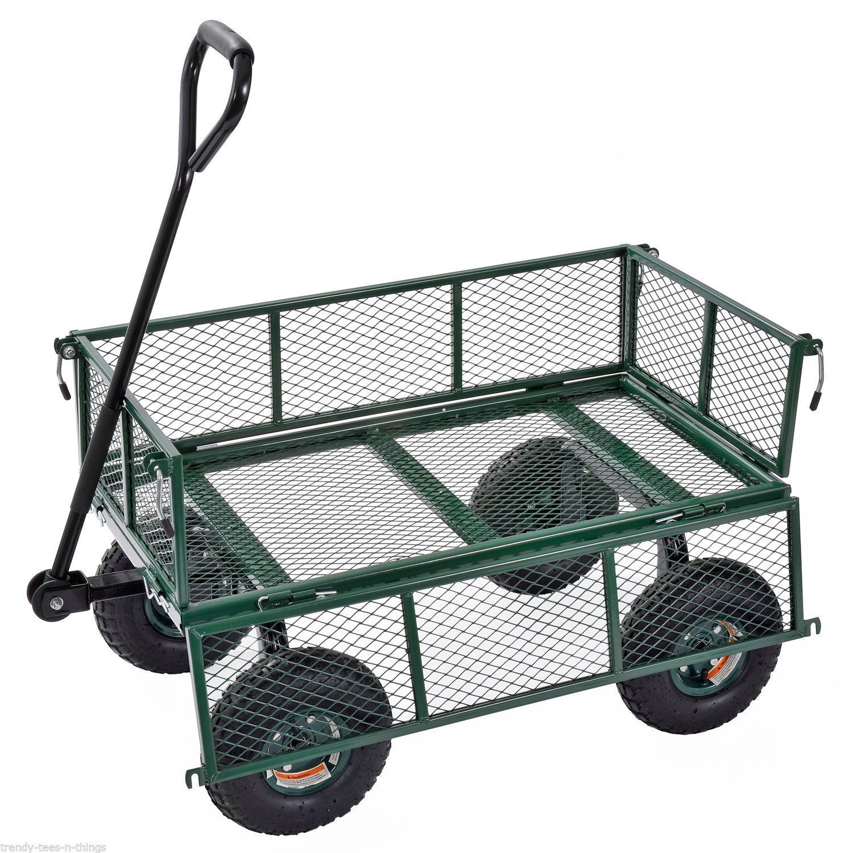 Sandusky Heavy Duty Jumbo Utility Garden Wagon Cart Steel Hauling Rugged Tool Wheelbarrows