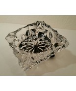 Square Mid Century Crystal Clear Cut Glass Ashtray - $34.00