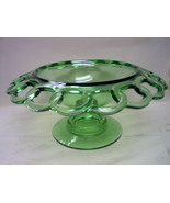 IMPERIAL? FOREST/EMERALD GREEN  CROCHET LACED EDGE COMPOTE - $26.50