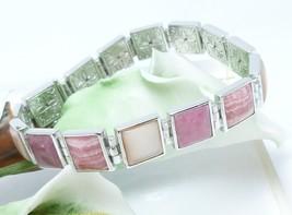 Pink Square Gemstone Sterling Bracelet Rhodocrosite Rhodonite MOP Bracel... - $65.00
