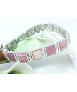 Pink Square Gemstone Sterling Bracelet Rhodochrosite Rhodonite MOP Brace... - $65.00