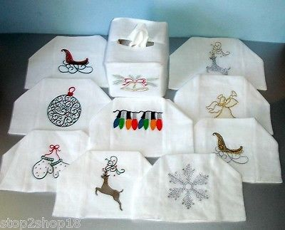 Sferra Holiday Tissue Box Cover Embroidered Pure Linen New! - $32.90