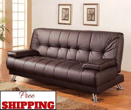 Convertible Leather Sofa Bed Modern Brown Comfy Foam Seating Sleeper Futon Couch Sofas