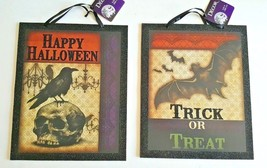 Halloween Decor Wall Sign Plaque Picture Set 2 Trick or Treat Bats Crow ... - $14.95