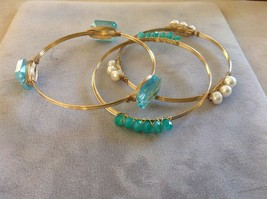 New Gold Toned Set Bracelets Simulated Pearls Aquamarine Gemstones Blue Green