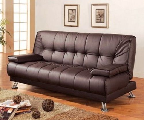 Convertible leather sofa bed modern brown comfy foam for Foam convertible sofa bed