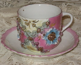 VTG Lusterware-Applied Flowers w/ Gold Teacup &Saucer - Germany - $31.00