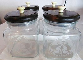 VINTAGE GLASS CANISTERS W/ FROSTED DESIGN & WOO... - $75.00