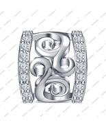925 Silver Round White Cubic Zirconia Perfect Fit Pandora Charm Bead Bra... - £28.09 GBP