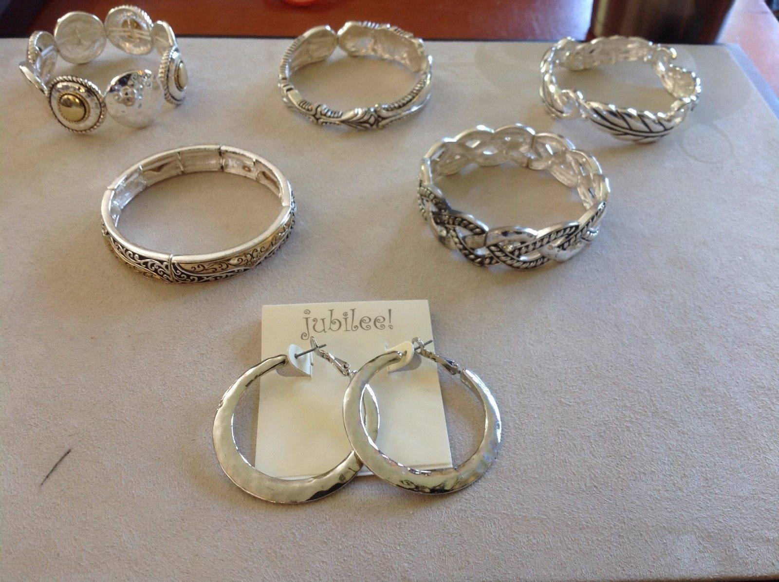Set Collection of Silver Toned Bracelets Earrings Jubilee! Weave Floral Blessed