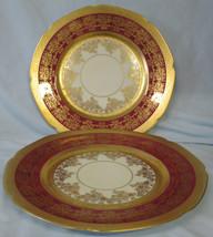 Royal Bavarain Hutschenreuther Red & Gold HUT3011 Dinner Plate pair - $98.89
