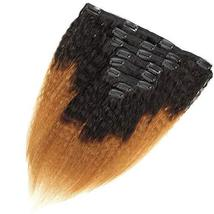 Feelgrace Kinky Straight Clip In Human Hair Extension Ombre 2 Tone 1B/Brown Colo image 3