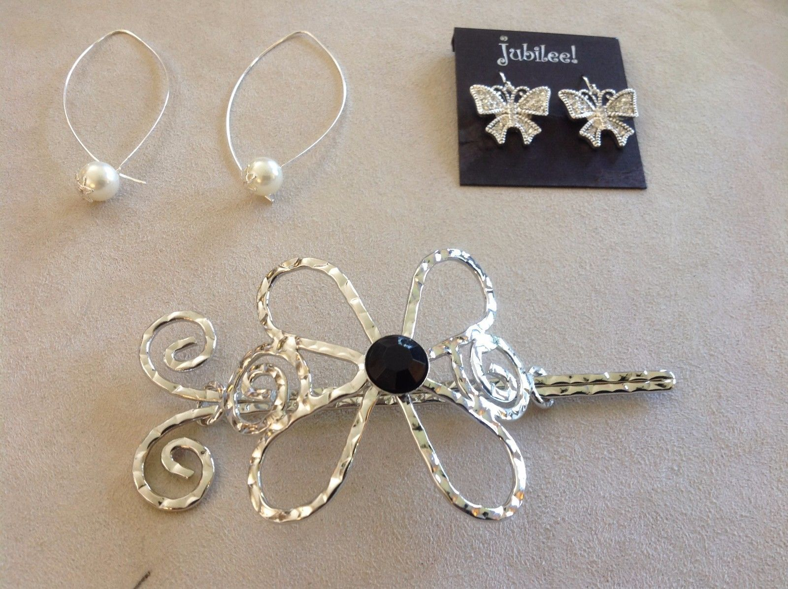 Set Collection of Silver Toned Jubilee! Earrings Hoops Oblong Simulated Pearls