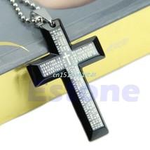 New Gift Unisex's Men Stainless Steel Cross Pendant Black Silver Necklac... - $4.94
