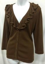 Women's Coldwater Creek Brn Cardigan Cotton Sweater Ruffle Neck 3/4 Sleeve Sz M - $29.70
