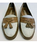 Cole Haan Tassel Loafers Soft Leather White Caramel Brown Sz. 8.5 Italy Women - $14.85