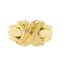 """Vintage Tiffany & Co. 18K Yellow Gold Large Knot 1990 """"X"""" Ring Size 6.5 ... - $1,018.35"""