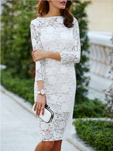 Cut Out Over Hip 3/4 Sleeve Pure Color Lace Dress Women White S M L XL I... - $44.95