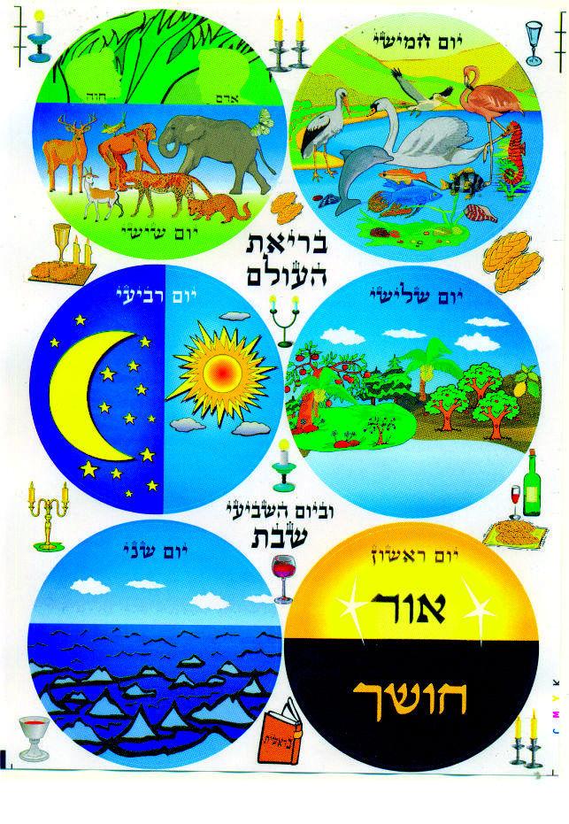 Judaica Brias Haolam Bereshit 60 Stickers Children Teaching Aid Israel Hebrew