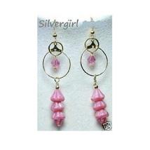 Pink Flower Beaded Hoop Crystal Earrings - $12.99