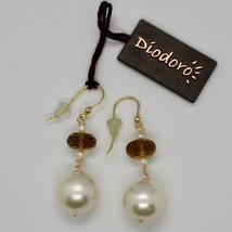 Yellow Gold Earrings 18K 750 Pearls Water Dolce and Quartz Beer Made in Italy image 2