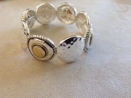 Set Collection of Silver Toned Bracelets Earrings Jubilee! Weave Floral Blessed image 3